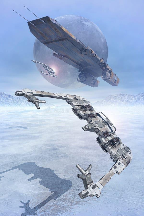Διαστημικοί μαχητές που πετούν χαμηλά στον πάγο διανυσματική απεικόνιση