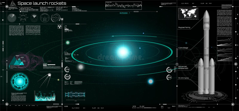 Διαστημικοί πύραυλοι έναρξης στο ύφος HUD! τρισδιάστατος πύραυλος διανυσματική απεικόνιση