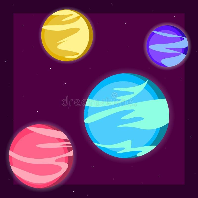 Διαστημικοί τέσσερις πλανήτες γαλαξιών του ηλιακού συστήματος, τα αστέρια ανάβουν τη διανυσματική απεικόνιση κινούμενων σχεδίων κ διανυσματική απεικόνιση