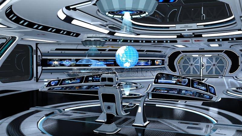 Διαστημικός θάλαμος ελέγχου σταθμών διανυσματική απεικόνιση