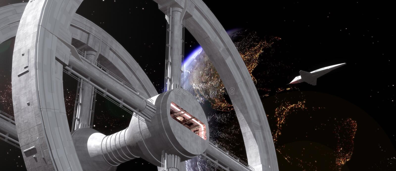 διαστημικός σταθμός σαϊτών διανυσματική απεικόνιση