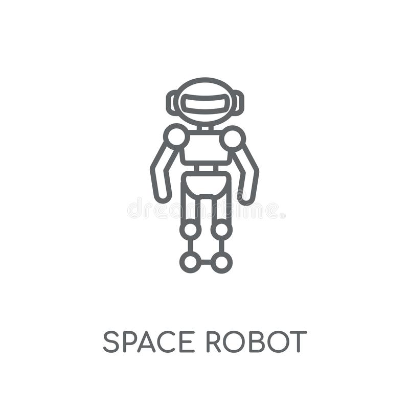 Διαστημικό γραμμικό εικονίδιο ρομπότ Σύγχρονη έννοια λογότυπων ρομπότ περιλήψεων διαστημική διανυσματική απεικόνιση
