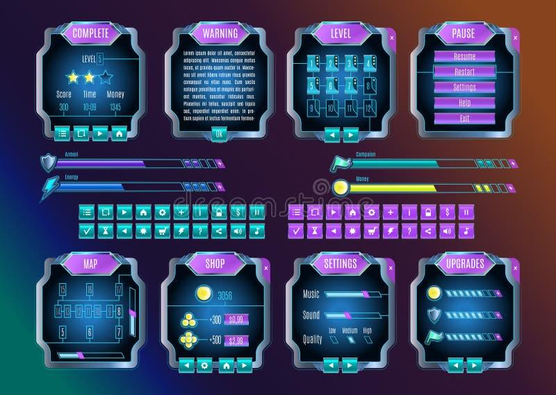 Διαστημικό γραφικό σύνολο ενδιάμεσων με τον χρήστη παιχνιδιών UI διάνυσμα διανυσματική απεικόνιση