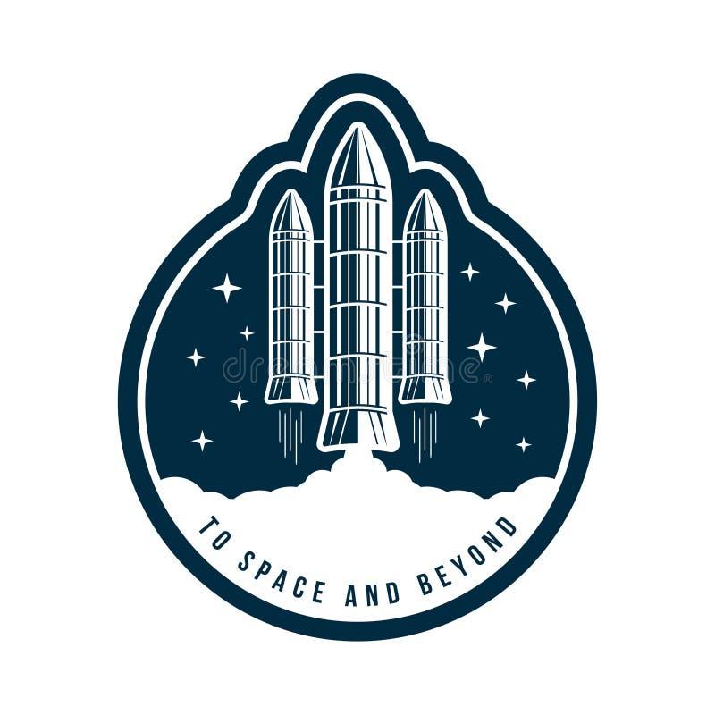 Διαστημικό διακριτικό με την έναρξη πυραύλων Εκλεκτής ποιότητας ετικέτα ή μπάλωμα αστροναυτών για την κεντητική στη διαστημική έν απεικόνιση αποθεμάτων