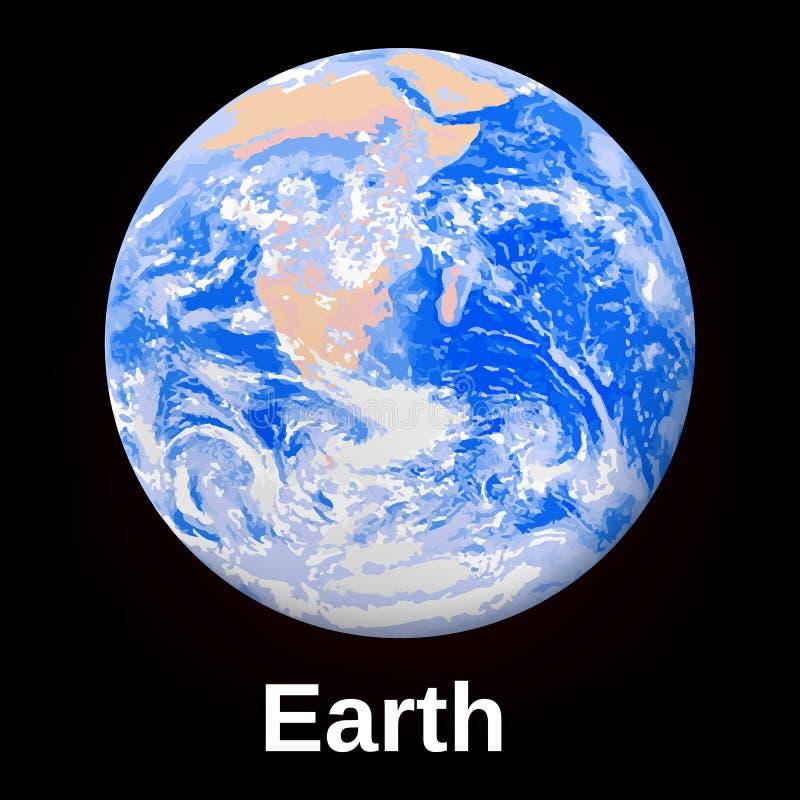 Διαστημικό εικονίδιο γήινων πλανητών, ρεαλιστικό ύφος απεικόνιση αποθεμάτων