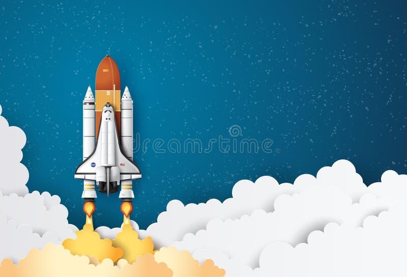 Διαστημικό λεωφορείο που απογειώνεται σε μια αποστολή ελεύθερη απεικόνιση δικαιώματος