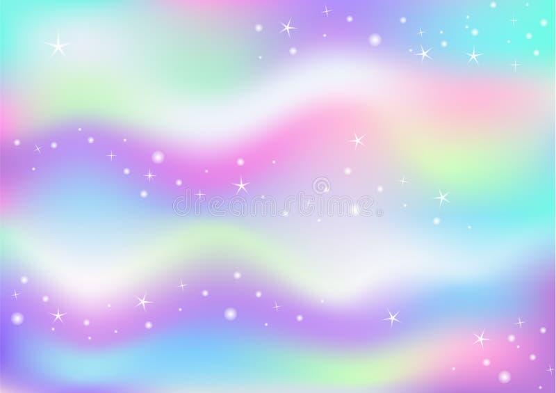 Διαστημικό μαγικό υπόβαθρο πυράκτωσης νεράιδων με το πλέγμα ουράνιων τόξων Πολύχρωμο έμβλημα κόσμου στα χρώματα πριγκηπισσών Ρόδι απεικόνιση αποθεμάτων