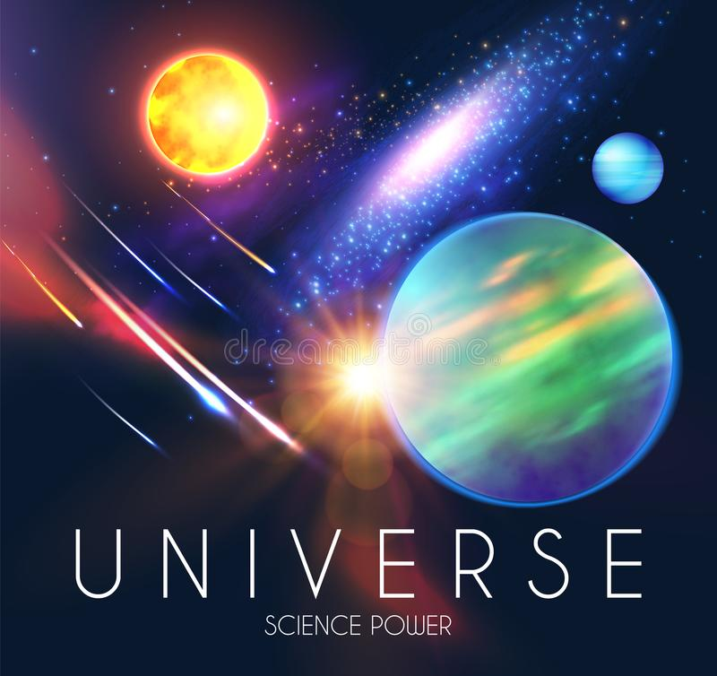 Διαστημικό να λάμψει Backgrouns με τους ρεαλιστικούς τρισδιάστατους πλανήτες και τα αστέρια Σχέδιο Univerce και κόσμου Φως ενός γ διανυσματική απεικόνιση