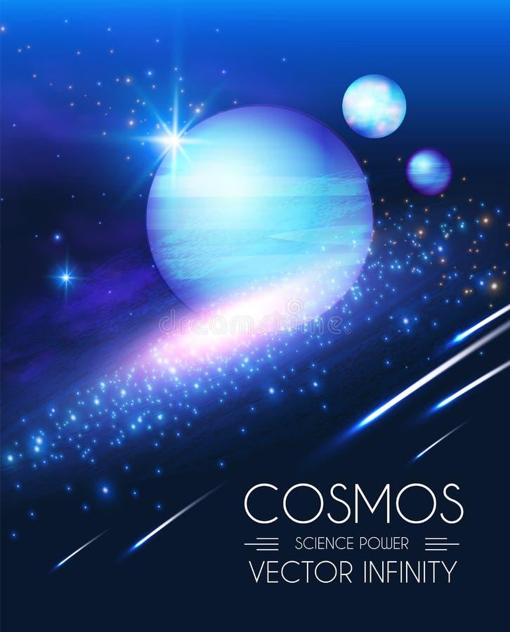 Διαστημικό να λάμψει Backgrouns με τους ρεαλιστικούς τρισδιάστατους πλανήτες και τα αστέρια Σχέδιο Univerce και κόσμου Φως ενός γ απεικόνιση αποθεμάτων
