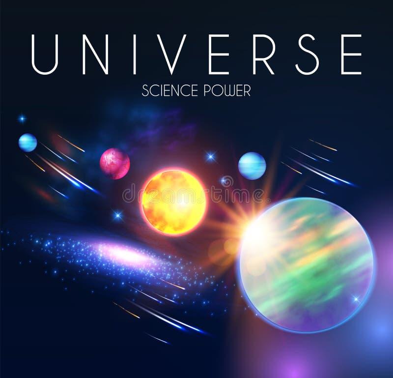 Διαστημικό να λάμψει Backgrouns με τους ρεαλιστικούς τρισδιάστατους πλανήτες και τα αστέρια Σχέδιο Univerce και κόσμου Φως ενός γ ελεύθερη απεικόνιση δικαιώματος