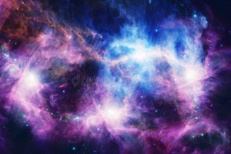 Διαστημικό νεφέλωμα με τα φωτεινά αστέρια και τα σύννεφα διανυσματική απεικόνιση