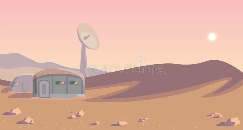Διαστημικό πανόραμα αποίκισης Αποικία σε άλλο πλανήτη Στρογγυλευμένος lineart χαλά ελεύθερη απεικόνιση δικαιώματος