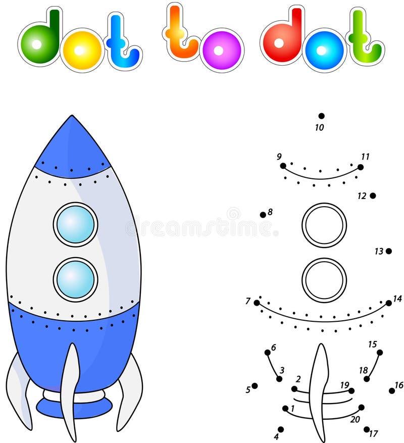 Διαστημικό σκάφος ή αεροδιαστημικό όχημα Συνδέστε τα σημεία και πάρτε την εικόνα edu διανυσματική απεικόνιση