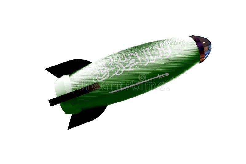 Διαστημικό σκάφος πυραύλων με τη σαουδαραβική τρισδιάστατη απεικόνιση σημαιών απεικόνιση αποθεμάτων