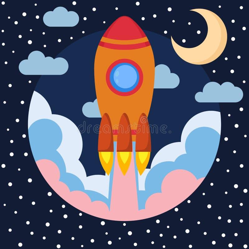 Διαστημικό σκάφος πυραύλων στο στρογγυλό κομμάτι με το φεγγάρι και τα σύννεφα Διαστημική έναρξη πυραύλων Ξεκίνημα προγράμματος κα διανυσματική απεικόνιση
