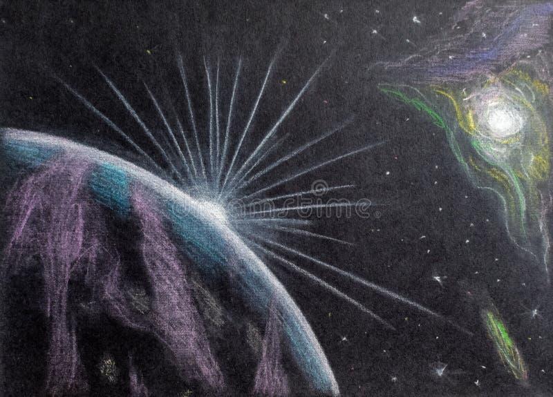Διαστημικό σχέδιο με ένα μολύβι Ανατολή και σεληνόφωτο επάνω από τη γήινη άποψη από το διάστημα απεικόνιση αποθεμάτων