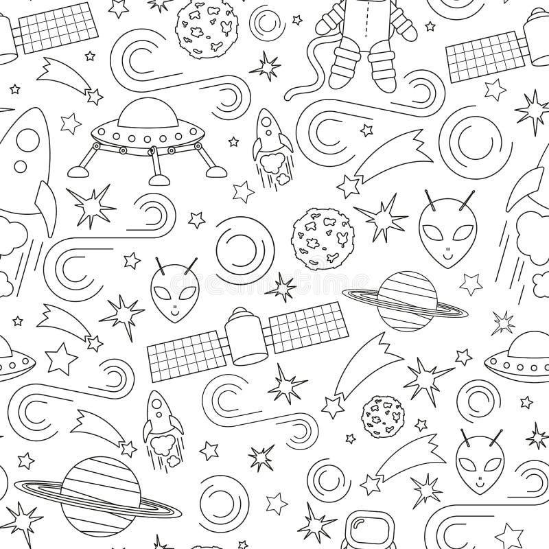 Διαστημικό σχέδιο εικονιδίων γραμμών ελεύθερη απεικόνιση δικαιώματος