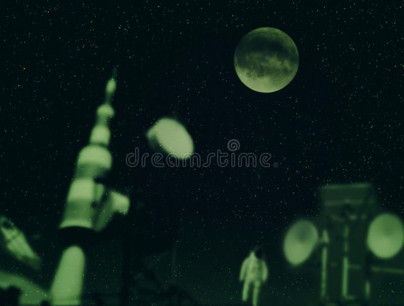 Διαστημικό τοπίο με τις εγκαταστάσεις για τον εξερευνητή το διάστημα στοκ φωτογραφία με δικαίωμα ελεύθερης χρήσης