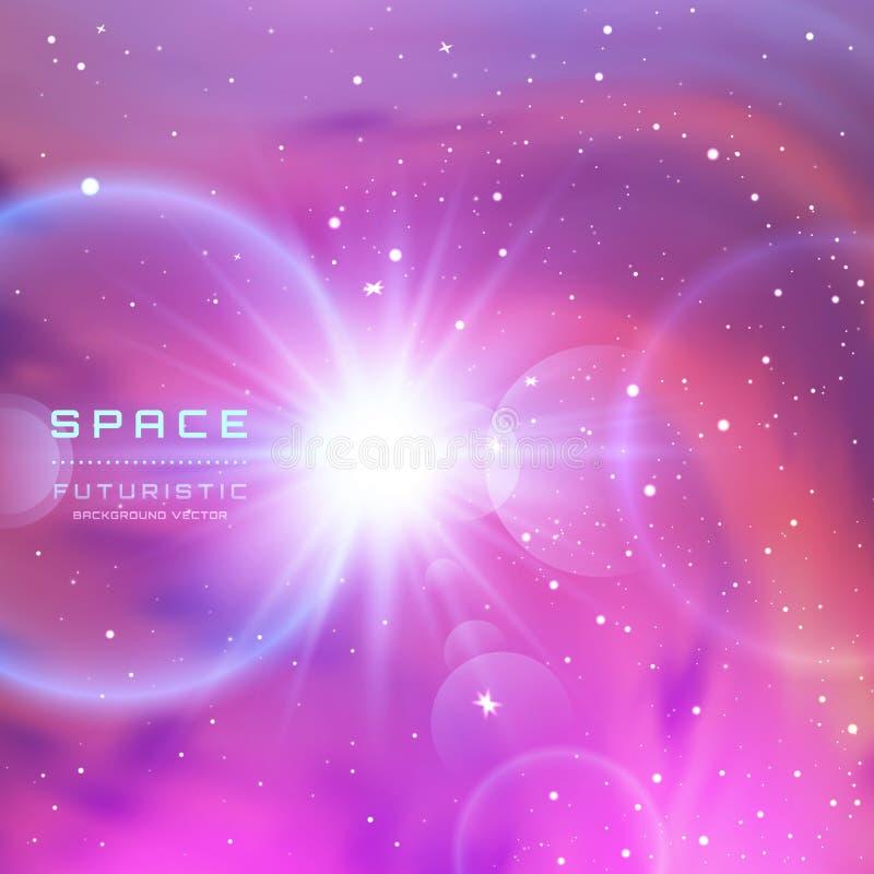 Διαστημικό υπόβαθρο γαλαξιών με τη γη, το γαλακτώδες νεφέλωμα τρόπων, τη αίσθηση μαγείας και τα φωτεινά λάμποντας αστέρια Διανυσμ ελεύθερη απεικόνιση δικαιώματος