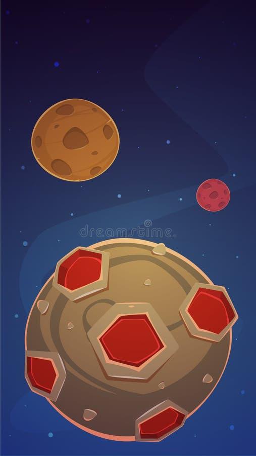 Διαστημικό υπόβαθρο παιχνιδιών κινούμενων σχεδίων απεικόνιση αποθεμάτων