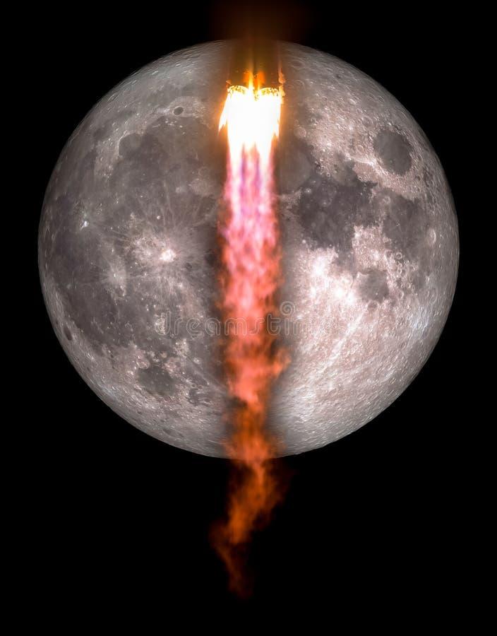 Διαστημόπλοιο που απογειώνεται σε μια αποστολή στο φεγγάρι στοκ εικόνες