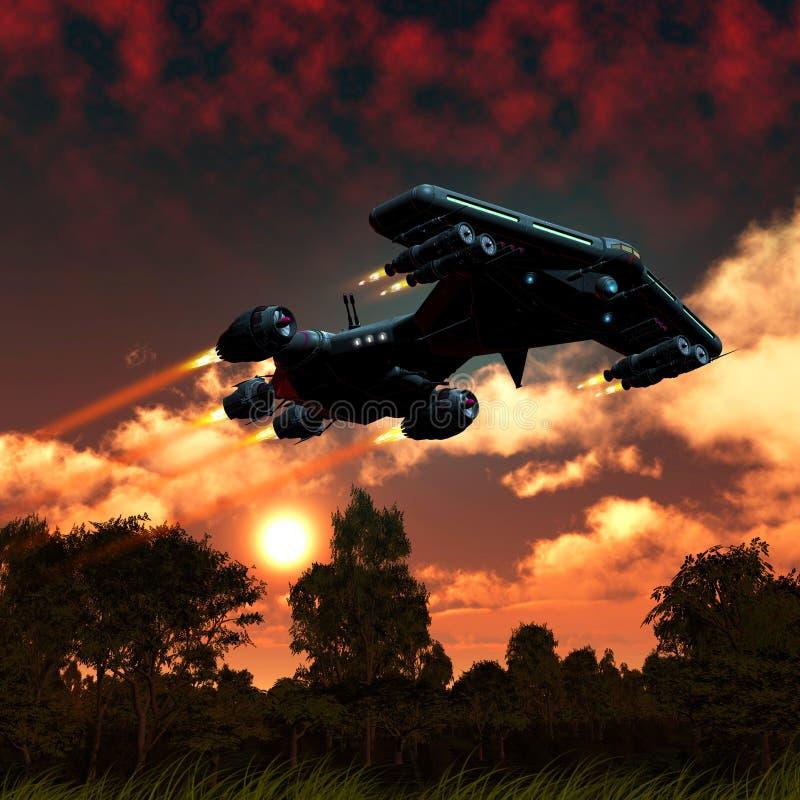 Διαστημόπλοιο που πετά πέρα από έναν αλλοδαπό πλανήτη με τα δέντρα και τις εγκαταστάσεις, ηλιοβασίλεμα με τα σύννεφα, τρισδιάστατ απεικόνιση αποθεμάτων