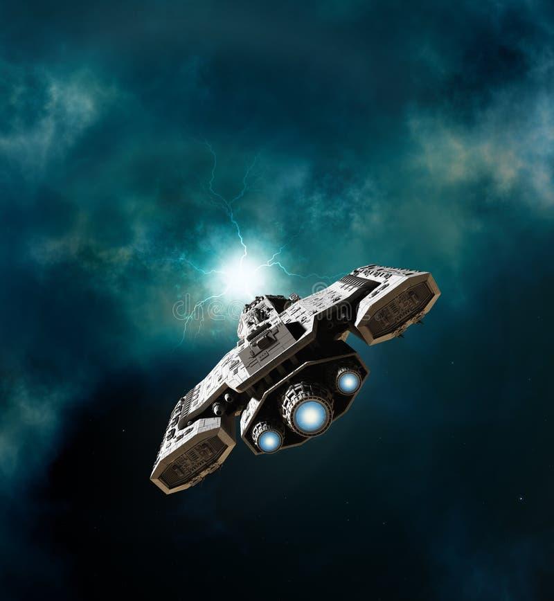 Διαστημόπλοιο που εισάγει ένα wormhole διανυσματική απεικόνιση