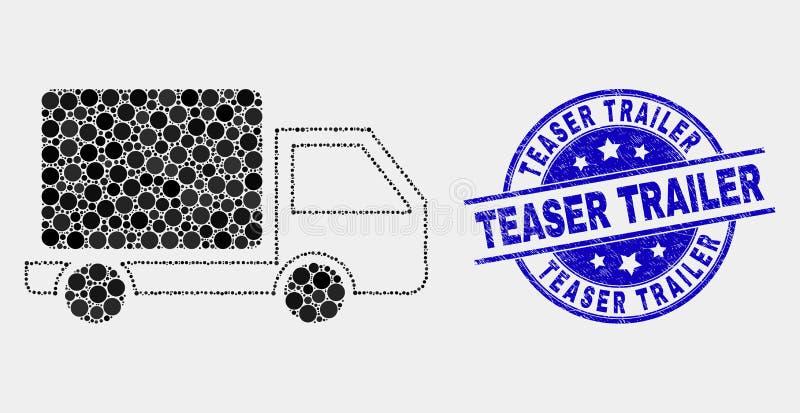 Διαστιγμένα διάνυσμα εικονίδιο φορτηγών και γραμματόσημο ρυμουλκών πειρακτηρίων Grunge διανυσματική απεικόνιση