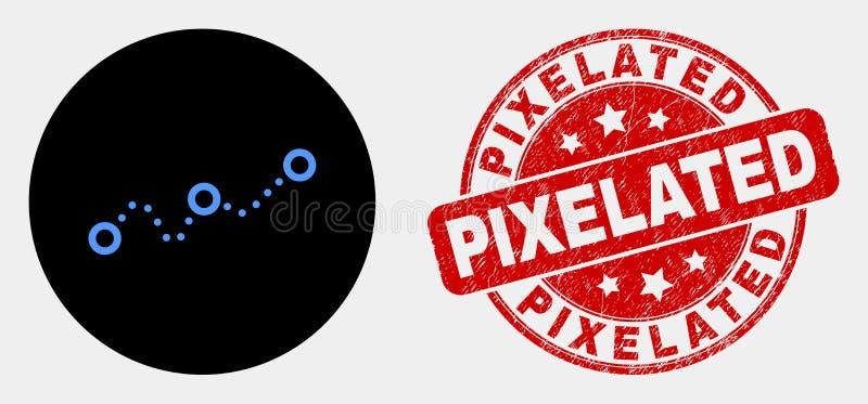 Διαστιγμένες διάνυσμα εικονίδιο διαγραμμάτων και σφραγίδα Grunge Pixelated απεικόνιση αποθεμάτων
