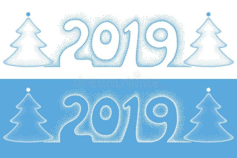 Διαστιγμένος διάνυσμα αριθμός 2019 και χριστουγεννιάτικο δέντρο διακοπών σε μπλε και το λευκό που απομονώνεται Πρότυπο με τα χειμ απεικόνιση αποθεμάτων
