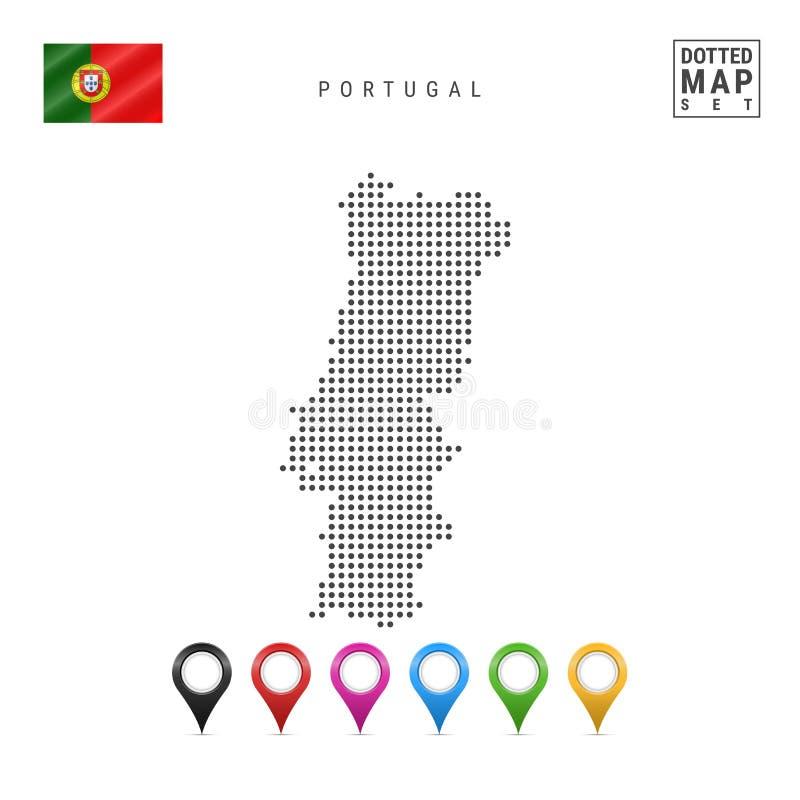 Διαστιγμένος διάνυσμα χάρτης της Πορτογαλίας Απλή σκιαγραφία της Πορτογαλίας σημαία εθνική Πορτογαλία Σύνολο πολύχρωμων δεικτών χ απεικόνιση αποθεμάτων