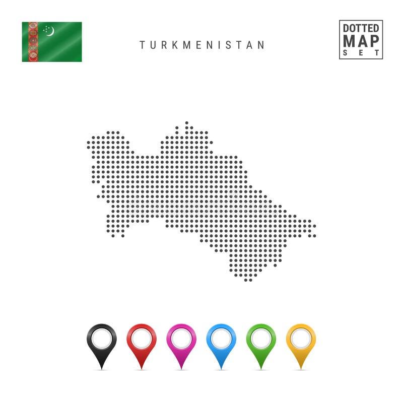 Διαστιγμένος διάνυσμα χάρτης του Τουρκμενιστάν Απλή σκιαγραφία του Τουρκμενιστάν σημαία Τουρκμενιστάν Πολύχρωμοι δείκτες χαρτών κ ελεύθερη απεικόνιση δικαιώματος