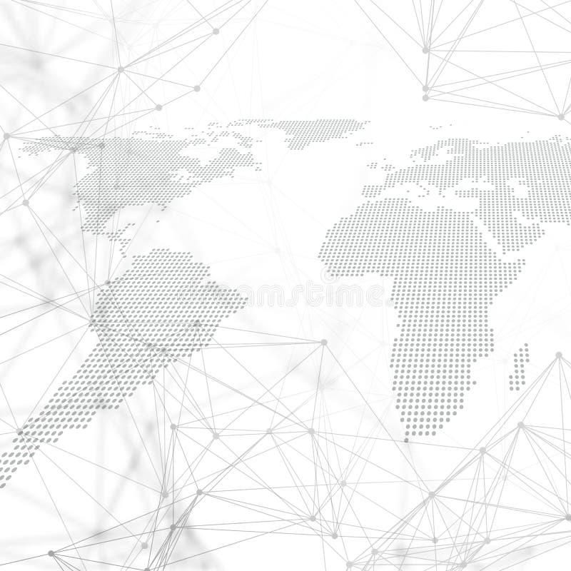 Διαστιγμένος παγκόσμιος χάρτης με το σχέδιο χημείας, τις συνδέοντας γραμμές και τα σημεία Δομή μορίων στο λευκό Επιστημονικό ιατρ διανυσματική απεικόνιση
