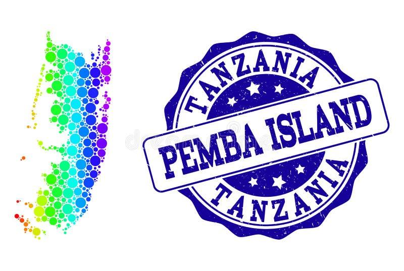 Διαστιγμένος χάρτης ουράνιων τόξων του νησιού Pemba και της σφραγίδας γραμματοσήμων Grunge απεικόνιση αποθεμάτων