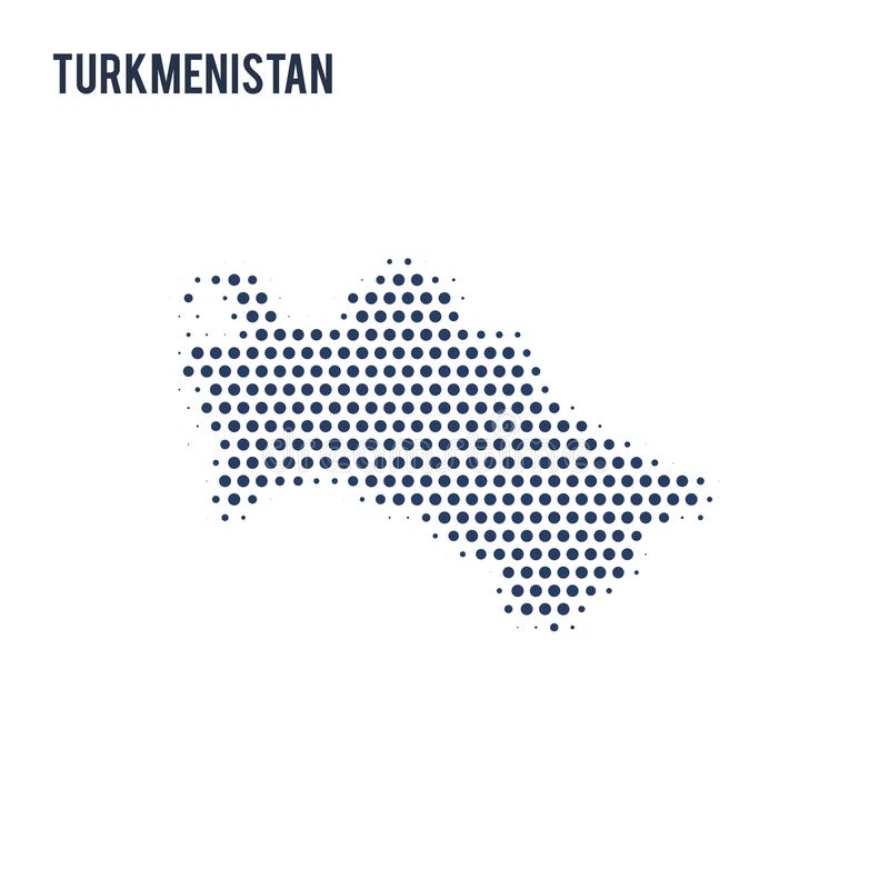 Διαστιγμένος χάρτης του Τουρκμενιστάν που απομονώνεται στο άσπρο υπόβαθρο απεικόνιση αποθεμάτων