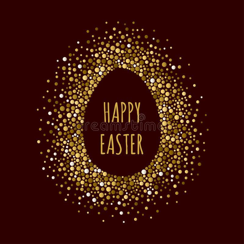 Διαστιγμένο αυγό πλαίσιο με την επιγραφή ευτυχές Πάσχα απεικόνιση αποθεμάτων