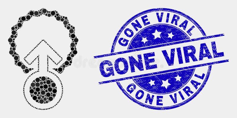 Διαστιγμένο διάνυσμα εικονίδιο γονιμοποίησης και Grunge προερχόμενη από ιό σφραγίδα απεικόνιση αποθεμάτων