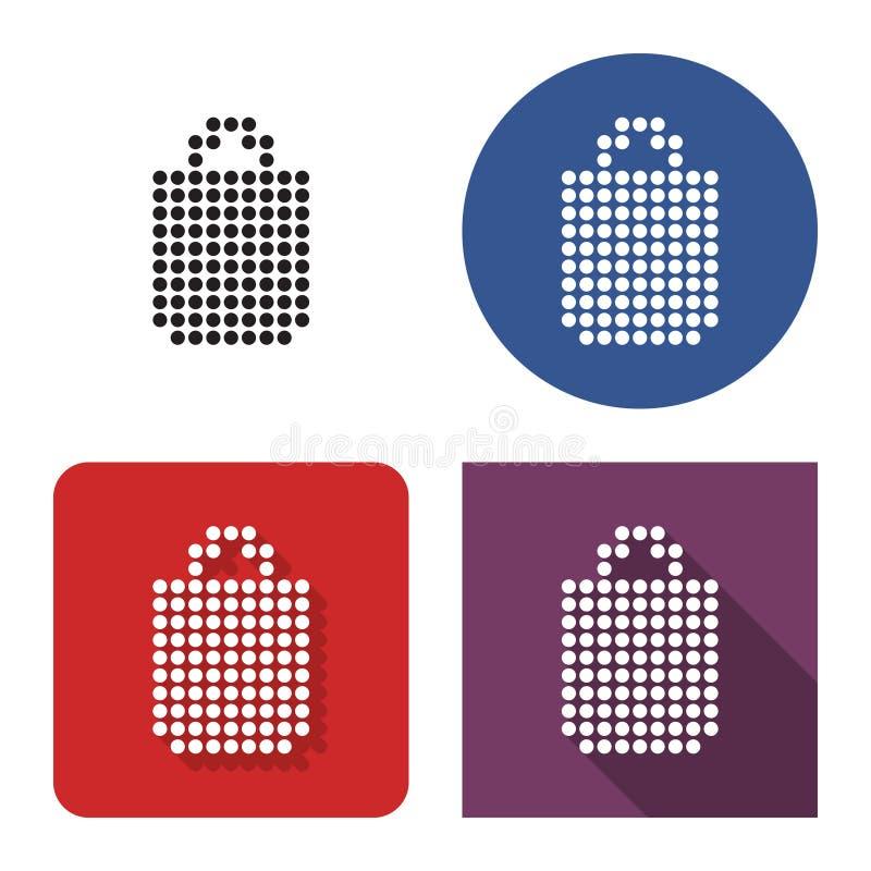 Διαστιγμένο εικονίδιο της τσάντας αγορών σε τέσσερις παραλλαγές απεικόνιση αποθεμάτων