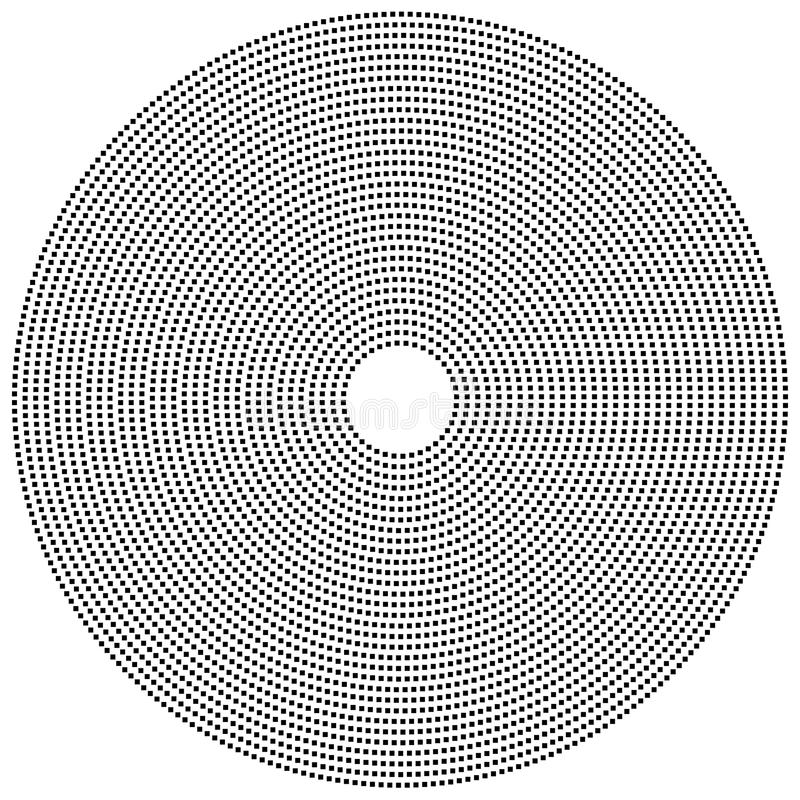 Διαστιγμένο κυκλικό στοιχείο Γραπτό illustrati Mononochrome διανυσματική απεικόνιση