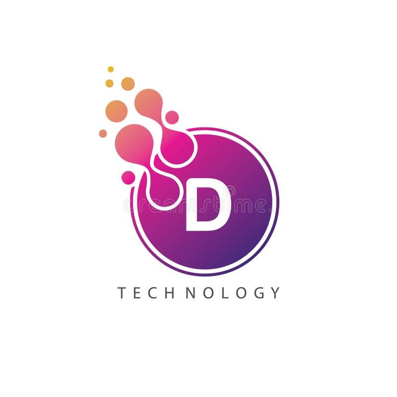 Διαστιγμένο λογότυπο επιστολών Δ τεχνολογίας σημαδιών κύκλων ελεύθερη απεικόνιση δικαιώματος