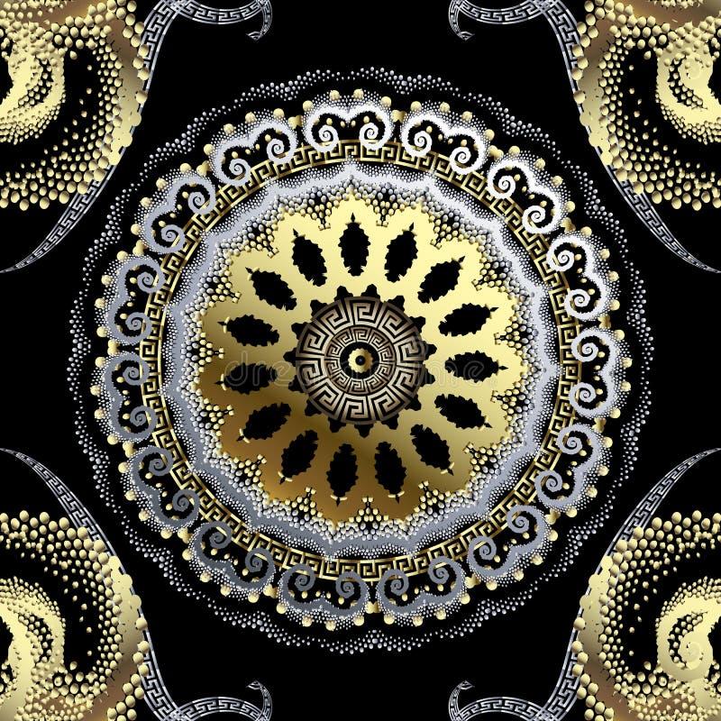 Διαστιγμένο χρυσό ασημένιο τρισδιάστατο ελληνικό διανυσματικό άνευ ραφής σχέδιο Διακοσμητικό ημίτονο υπόβαθρο Εκλεκτής ποιότητας  διανυσματική απεικόνιση