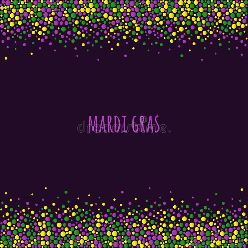 Διαστιγμένο gras σχέδιο της Mardi με το διάστημα για το κείμενο Ζωηρόχρωμα σημεία του διάφορου μεγέθους στο σκοτεινό πορφυρό υπόβ διανυσματική απεικόνιση