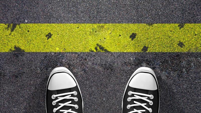 Διασχίστε την κίτρινη γραμμή; ελεύθερη απεικόνιση δικαιώματος