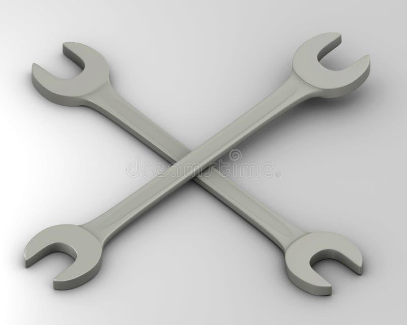 Διασχισμένο γαλλικό κλειδί διανυσματική απεικόνιση