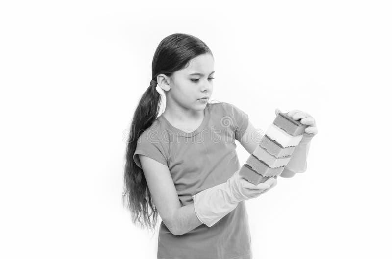 Διατήρηση της διαταγής στο σπίτι Όμορφο κορίτσι κουζινών Οικιακά καθήκοντα Μικρά σφουγγάρια πιάτων εκμετάλλευσης οικονόμων μέσα στοκ φωτογραφία με δικαίωμα ελεύθερης χρήσης