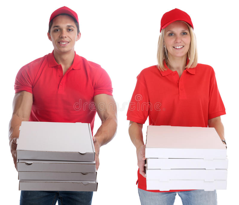 Διαταγή ανδρών γυναικών παράδοσης πιτσών που παραδίδει τις νεολαίες εργασίας που απομονώνονται στοκ φωτογραφία