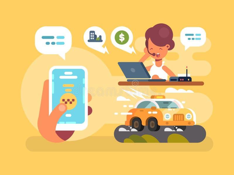 Διαταγή ταξί σε απευθείας σύνδεση διανυσματική απεικόνιση