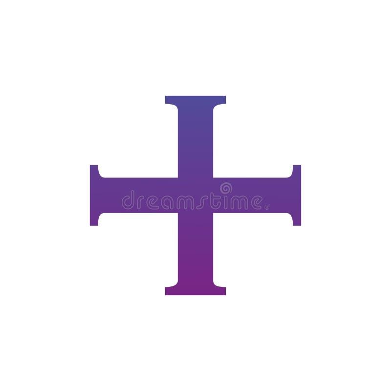 Διαταγή της διαγώνιας σκιαγραφίας συμβόλων Χριστού που απομονώνεται πέρα από το άσπρο υπόβαθρο απεικόνιση αποθεμάτων