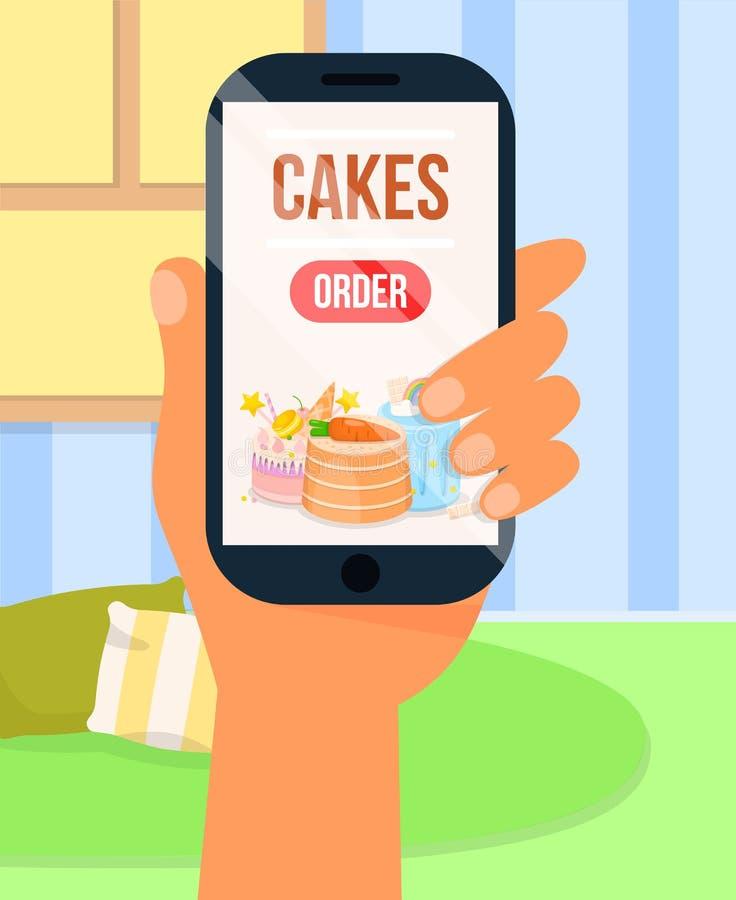 Διαταγή των κέικ μέσω Διαδικτύου App, εγχώρια παράδοση διανυσματική απεικόνιση