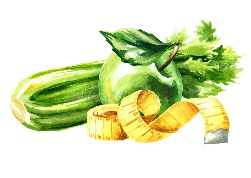 Διατροφή έννοιας Υγιή τρόφιμα με το σέλινο, το πράσινο μήλο και τη μέτρηση της ταινίας Συρμένη χέρι απεικόνιση Watercolor που απο διανυσματική απεικόνιση